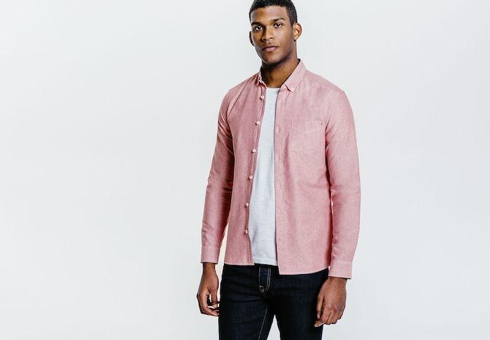 chemise pour homme rose jules magasin en soldes manche longues
