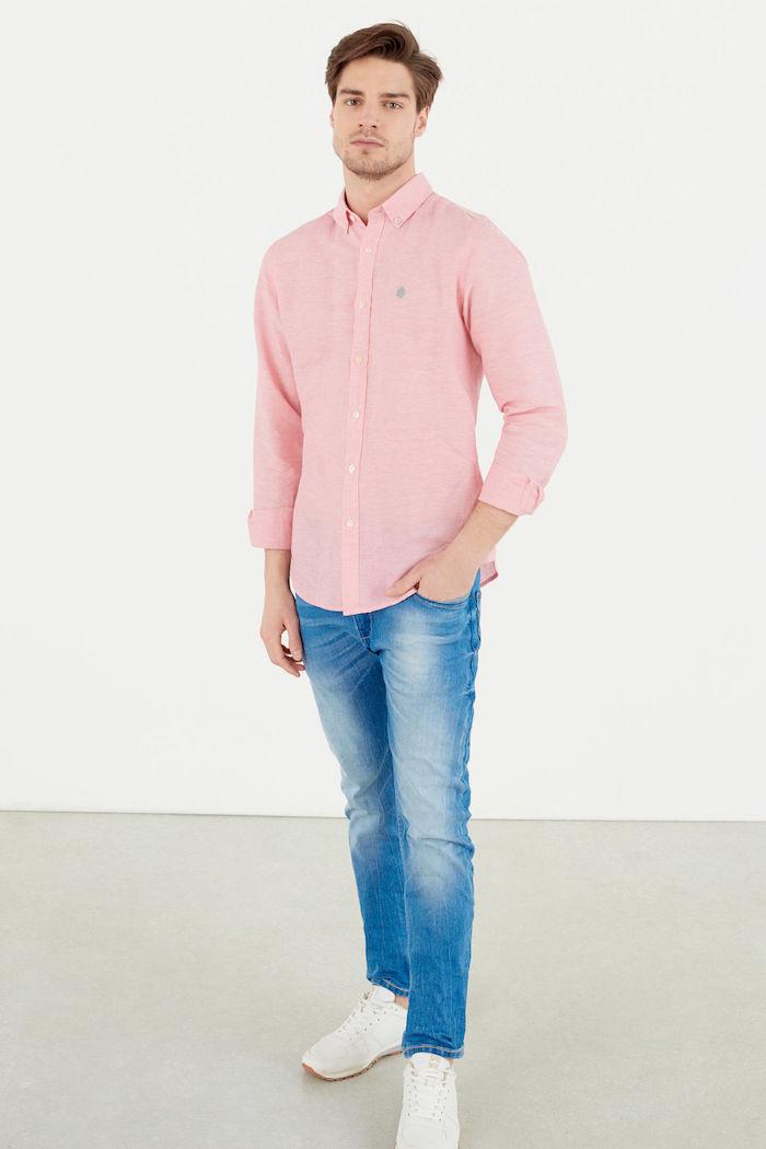 chemise springfield homme rose n lin en soldes été