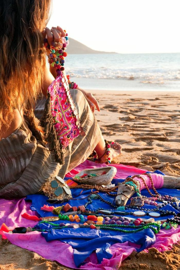 Blouse hippie chic tee shirt hippie vetements hippie chic à la plage ondes couleurs vêtements