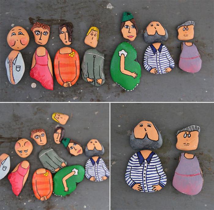 un jeu d'enfant avec des galets peints comme des personnages rigolos
