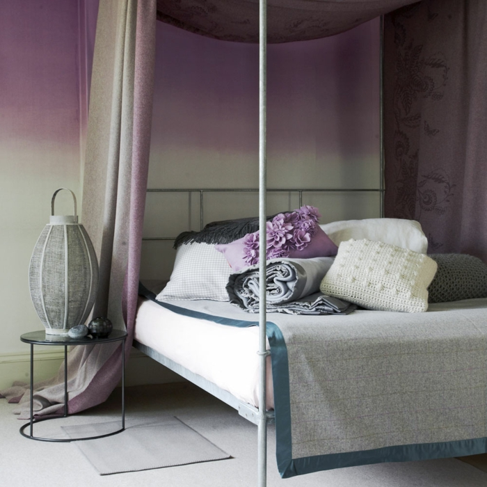 1001 id es pour la d coration d 39 une chambre gris et violet. Black Bedroom Furniture Sets. Home Design Ideas