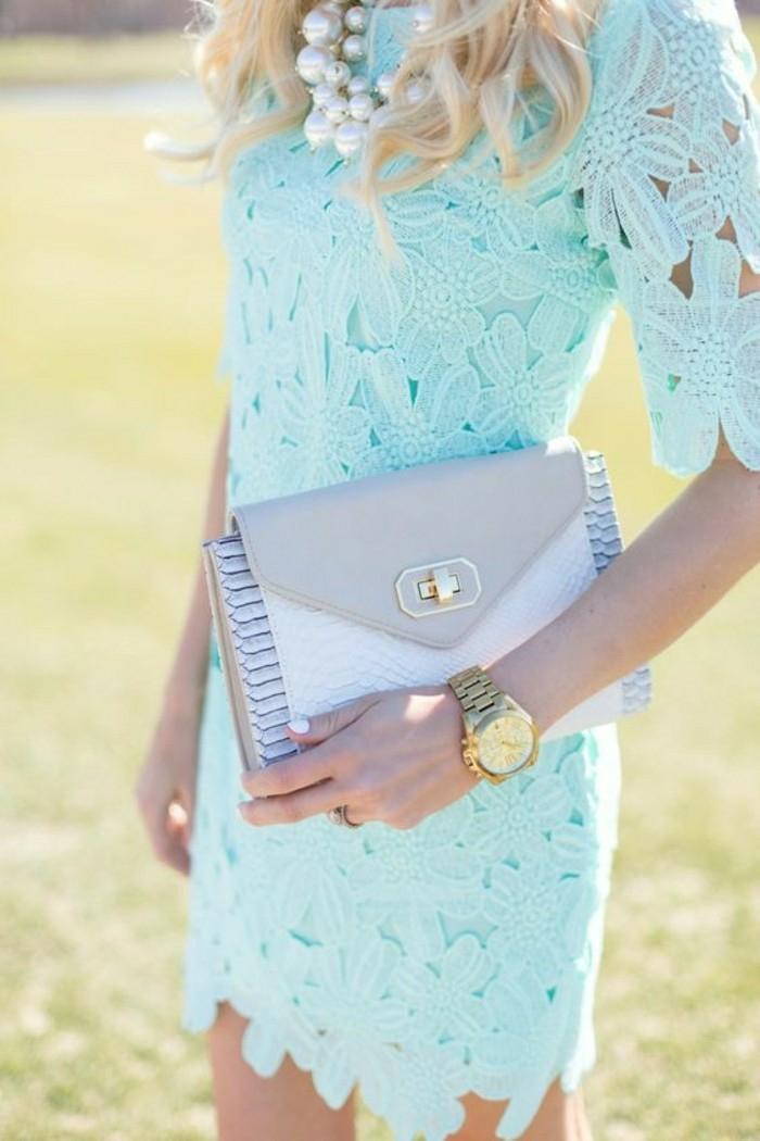 Habillée tenue mariage femme robe pour mariage invité robe chic dentelle robe courte bleu clair