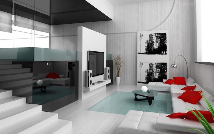 salon design de loft moderne meubles et murs blancs espace contemporain