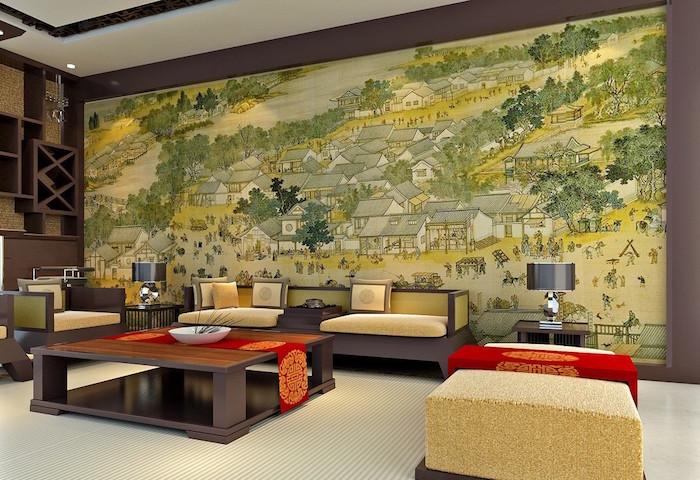 décoration salon asiatique design exemple deco séjour salle à manger japonaise