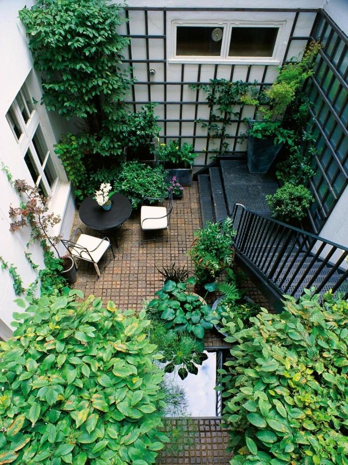 exemple comment decorer son jardin, amenagement petit jardin, arbres à couronnes vertes, grillage avec lierre, plante grimpante, revêtement de carreaux, patio, petit salon de jardin, table et chaises de jardin