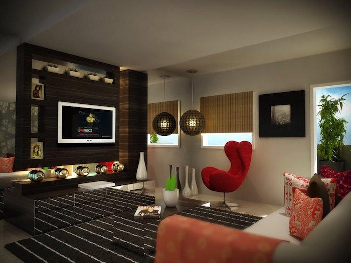 design salon contemporain style meubles vintage
