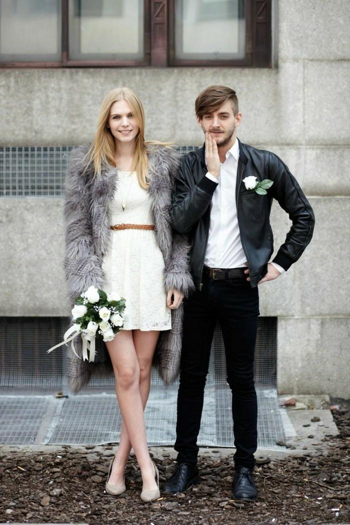 Excellente robe de marier civil mariage robe de mariée bohème robe marie blanche dentelle courte robe de mariée