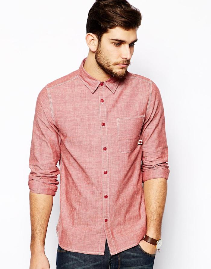 chemise devred rose pour homme manche longue oxford