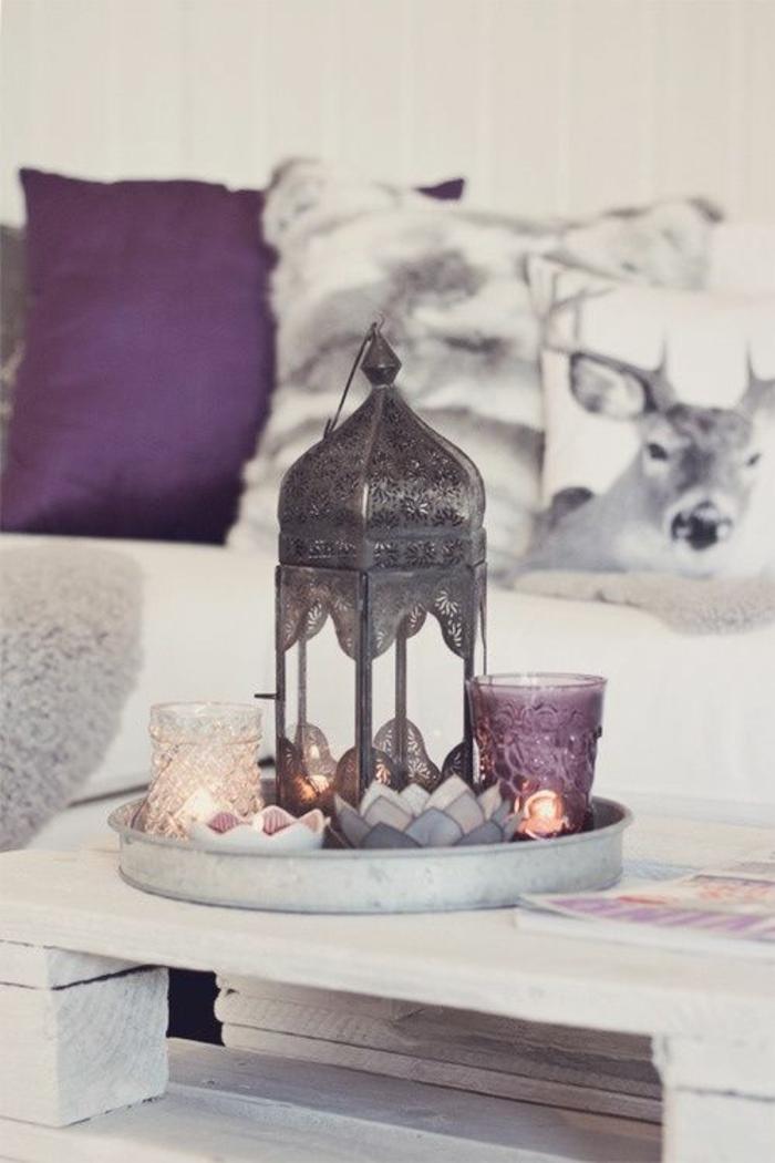 Excellente idée couleur chambre a coucher violet et gris association table basse salon marocain