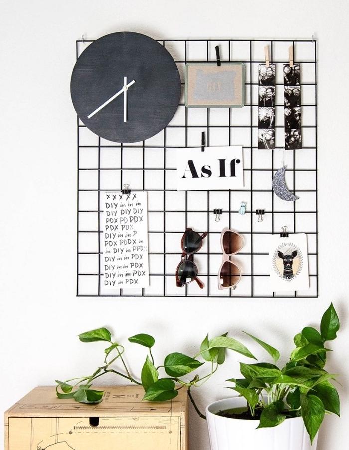 grillage panneau organisateur, décoration, rangement lunettes de soleil, notes importantes, idée pour organiser son quotidien
