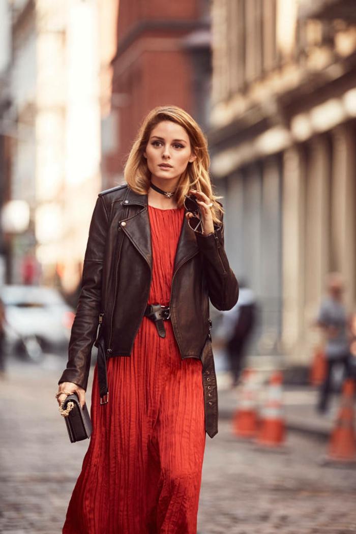 Avoir la classe tenue classe femme classe idée comment s habiller robe rouge veste cuir noir