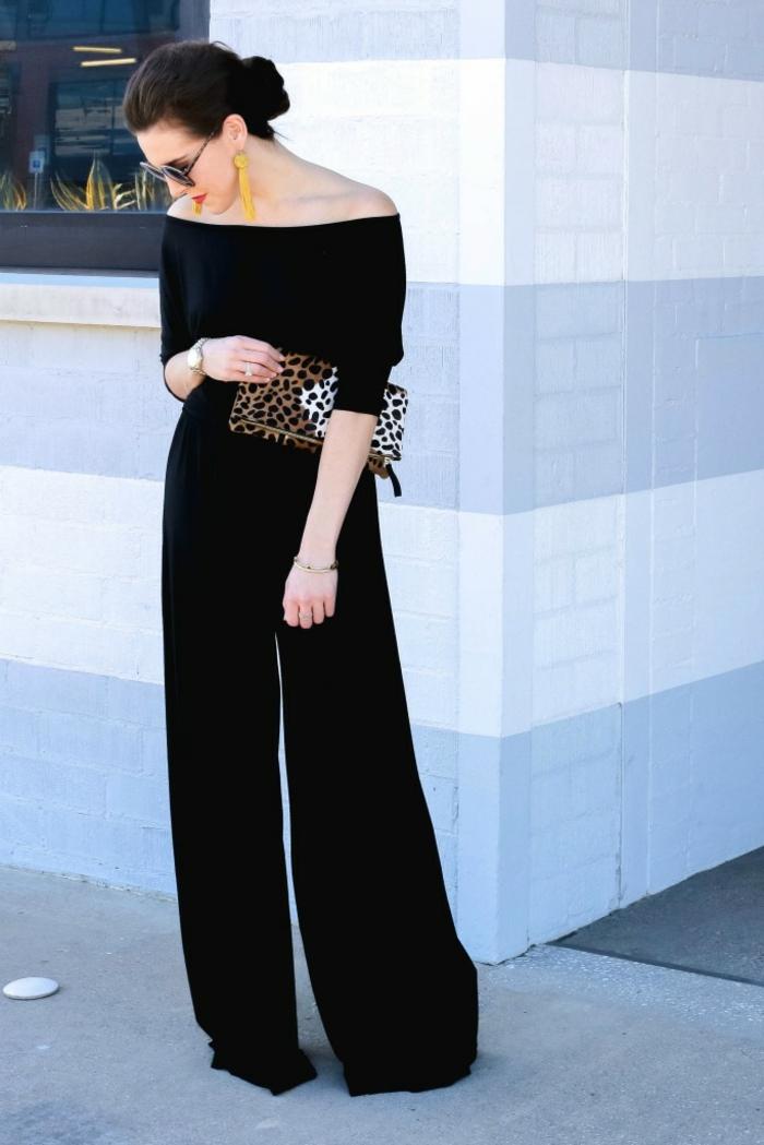 Excellente tenue de soirée classe femme idee pour s habiller chic femme salopette noire long pantalon