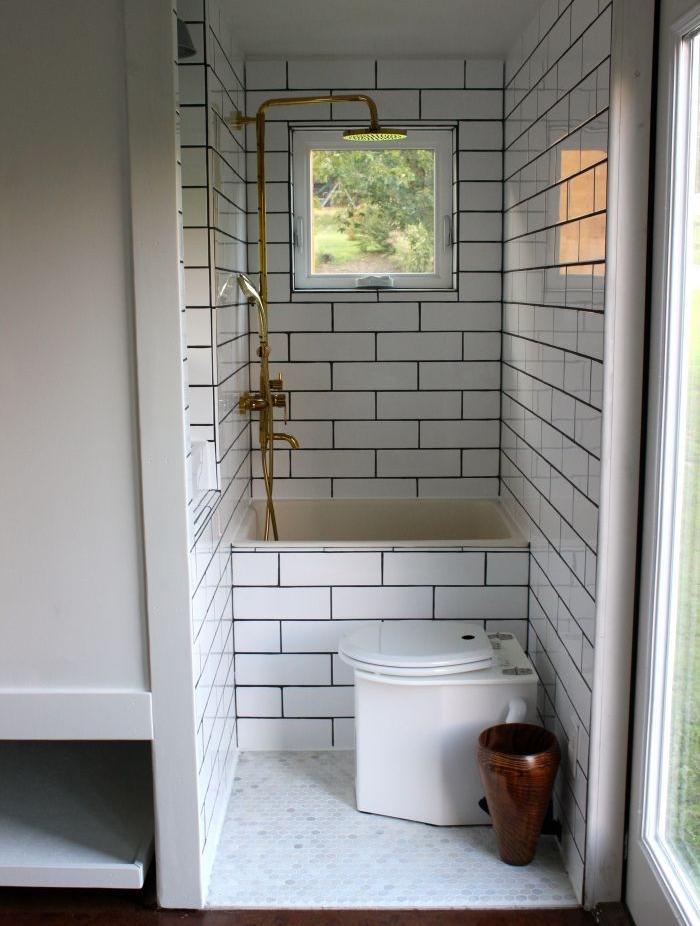 mini baignoire vintage carrelage bac carré douche