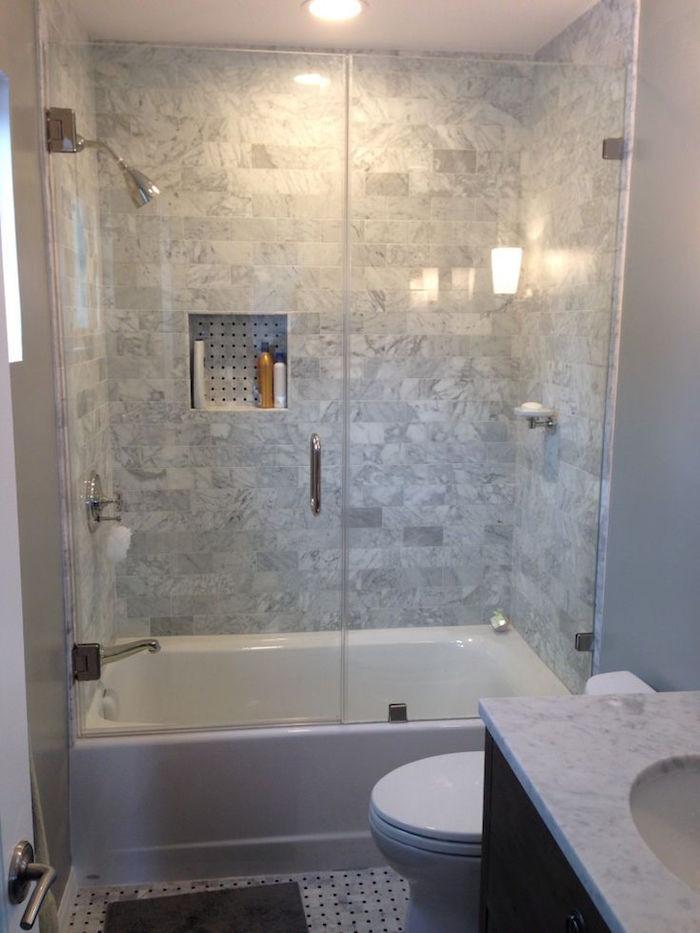 douche fermée avec bac baignoire basse gain de place