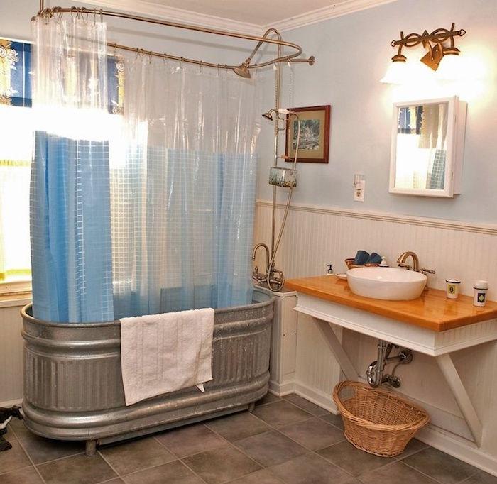 vieille baignoire vintage en metal style 19e siecle collector