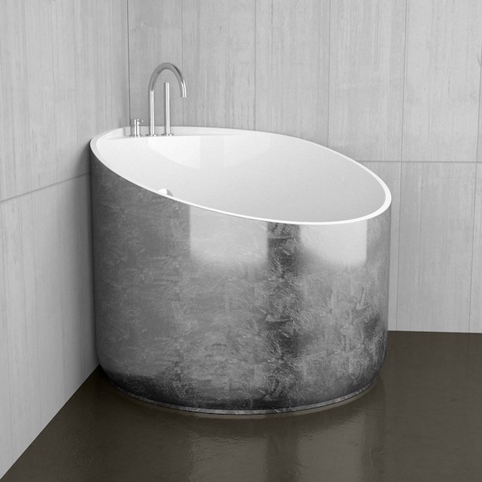 petite baignoire ronde d angle finition metal design