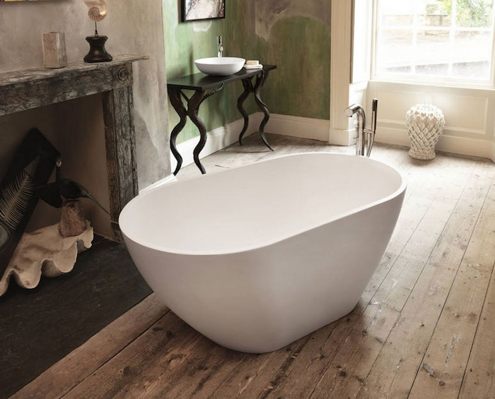 baignoire ovale blanche simple design pas cher