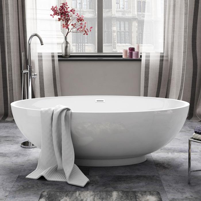 baignoire vasque ronde circulaire luxe robinet design chrome