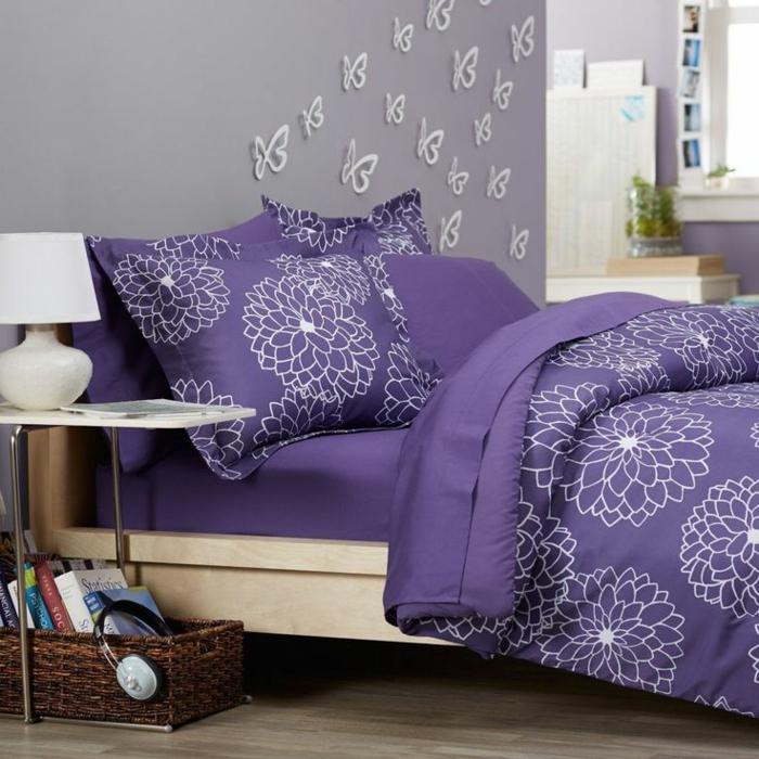 Habitation couleur chambre papier peint chambre le violet intérieur papillons