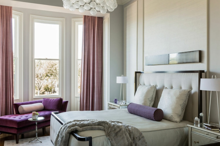 Inspiration chambre blanche et grise couleur pour une chambre canapé