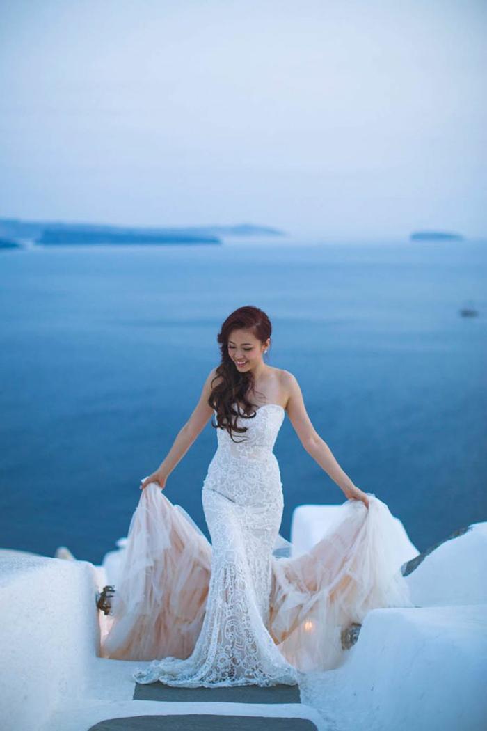 Excellente robe de marier robe de mariée bohème robe marie Santorin mariage robe de mariee sirene