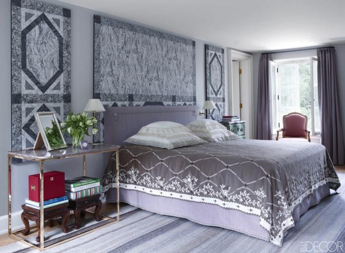 Aménagement chambre adulte deco chambre blanche gris et violet beau tapis
