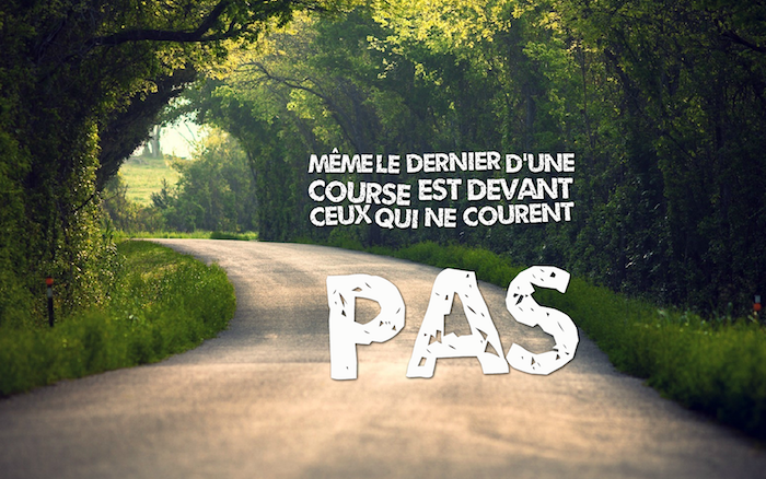 citation courte, photo de la nature, route avec arc d'arbres, nature verte et rayons de soleil