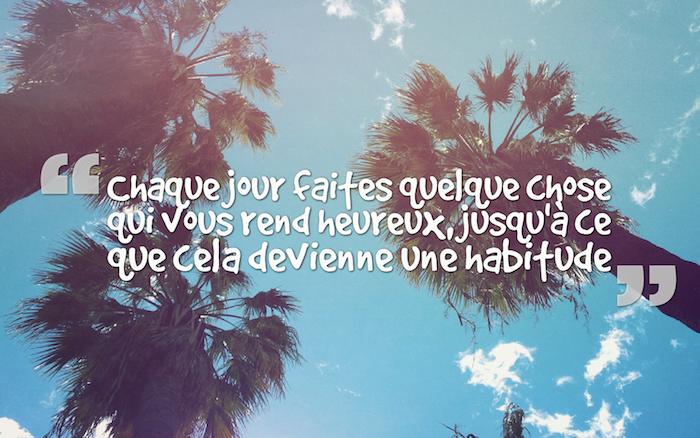 les plus belles citations, papier peint à motifs tropicaux, fond d'écran bureau avec palmiers et ciel bleu