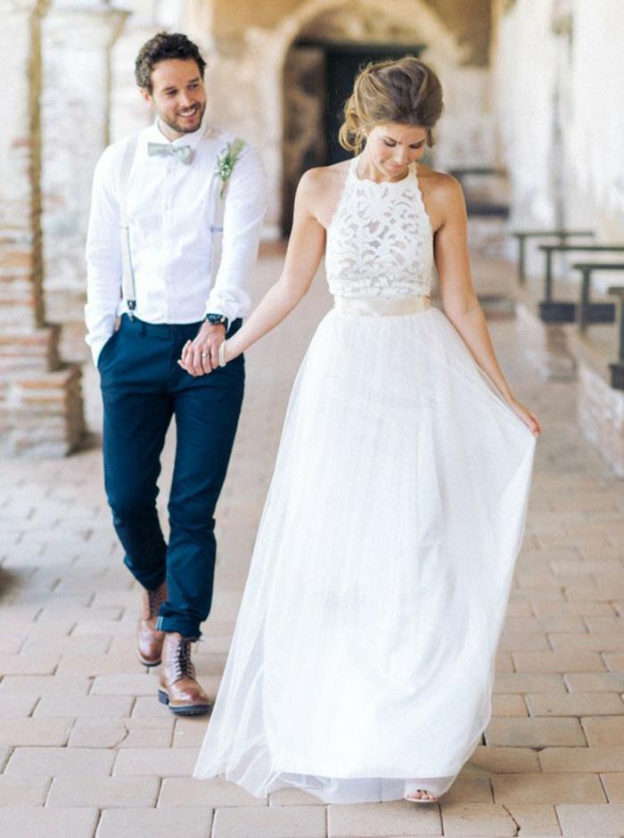 Chouette robe mariée moderne robe de mariée pas cher beauté dentelle top