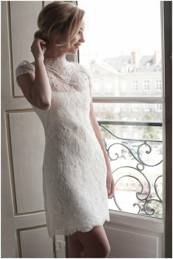 Adorable robe de mariée moderne robe de mariée simple mode robe de mariée courte dentelle femme classe