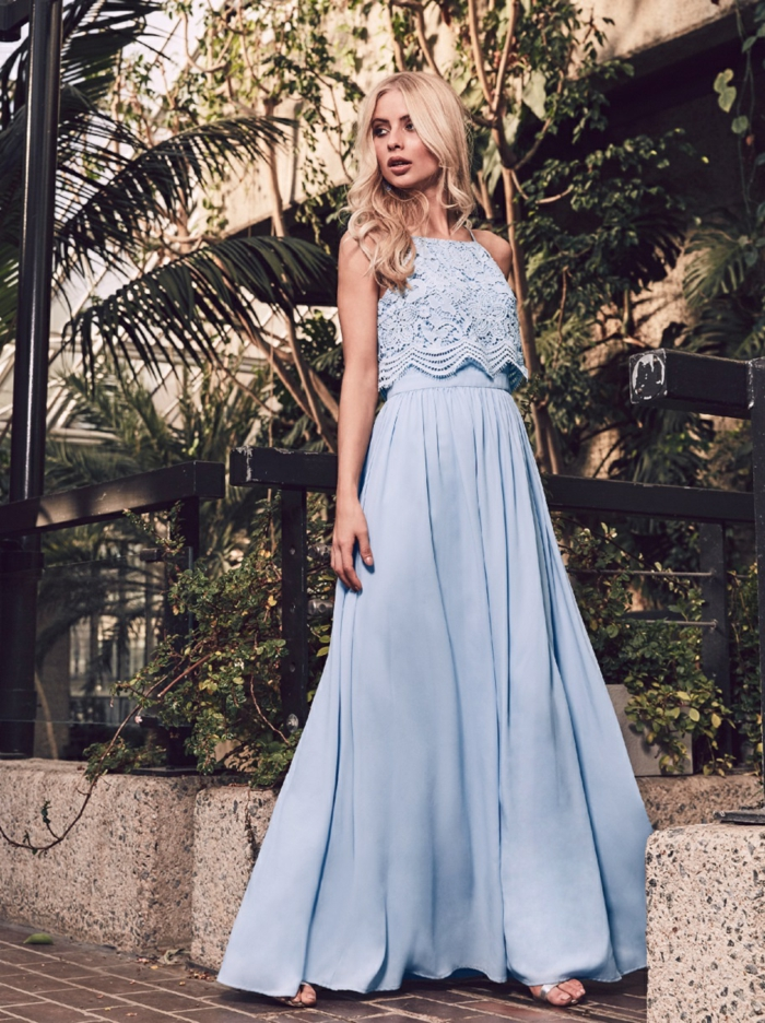 Robe pour un mariage invité femme robe longue élégante bleu claire top en dentelle