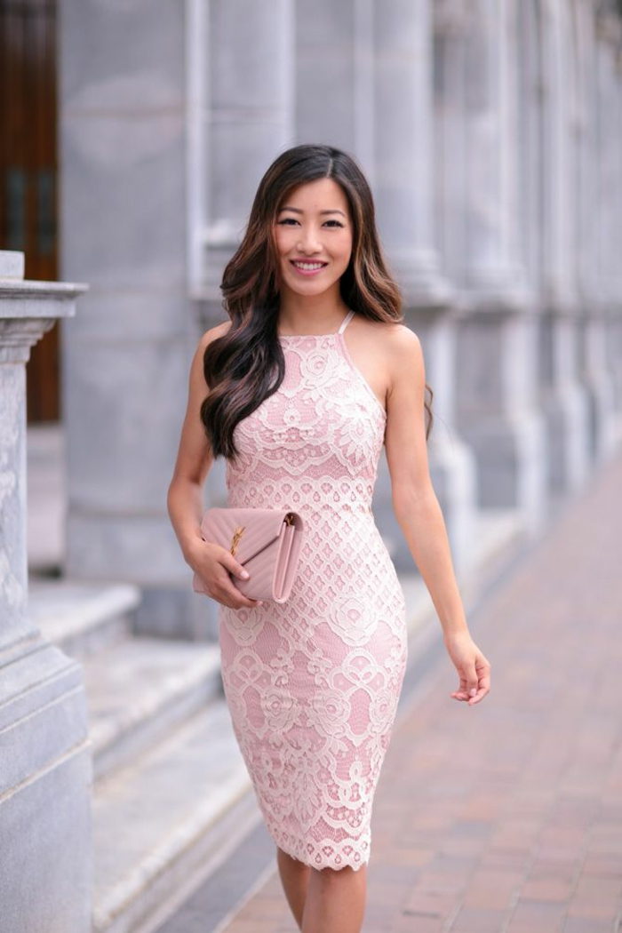 Robe chic pour mariage robe mariage bleu marine soirée courte dentelle rose robe beauté