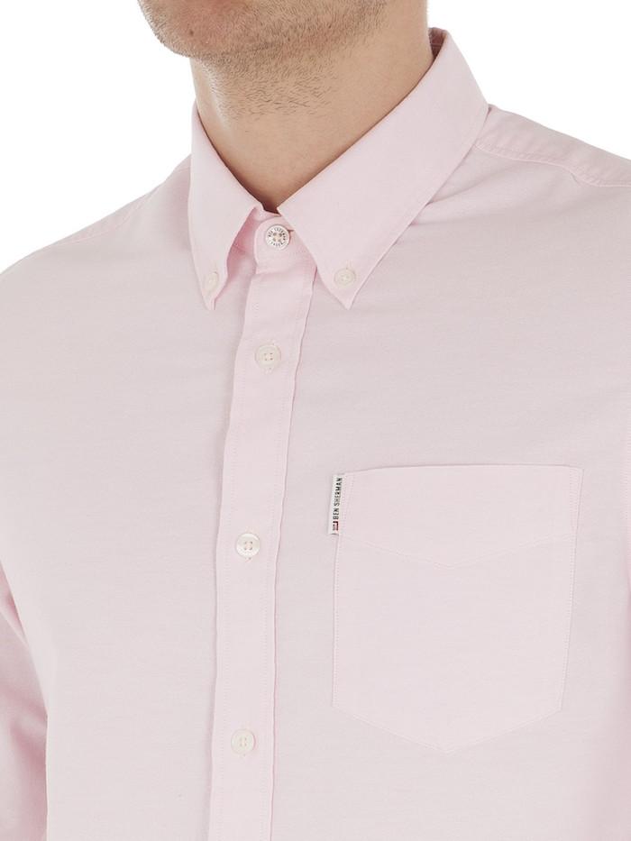 chemise homme ben sherman rose en coton oxford manches longues