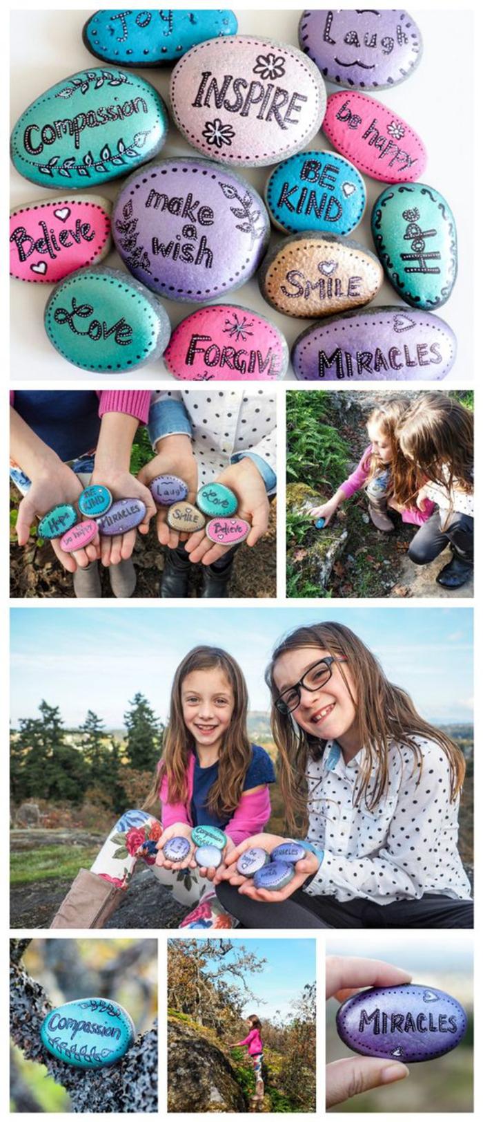 des galets peints aux couleurs pastel qui portent des mots inspirants