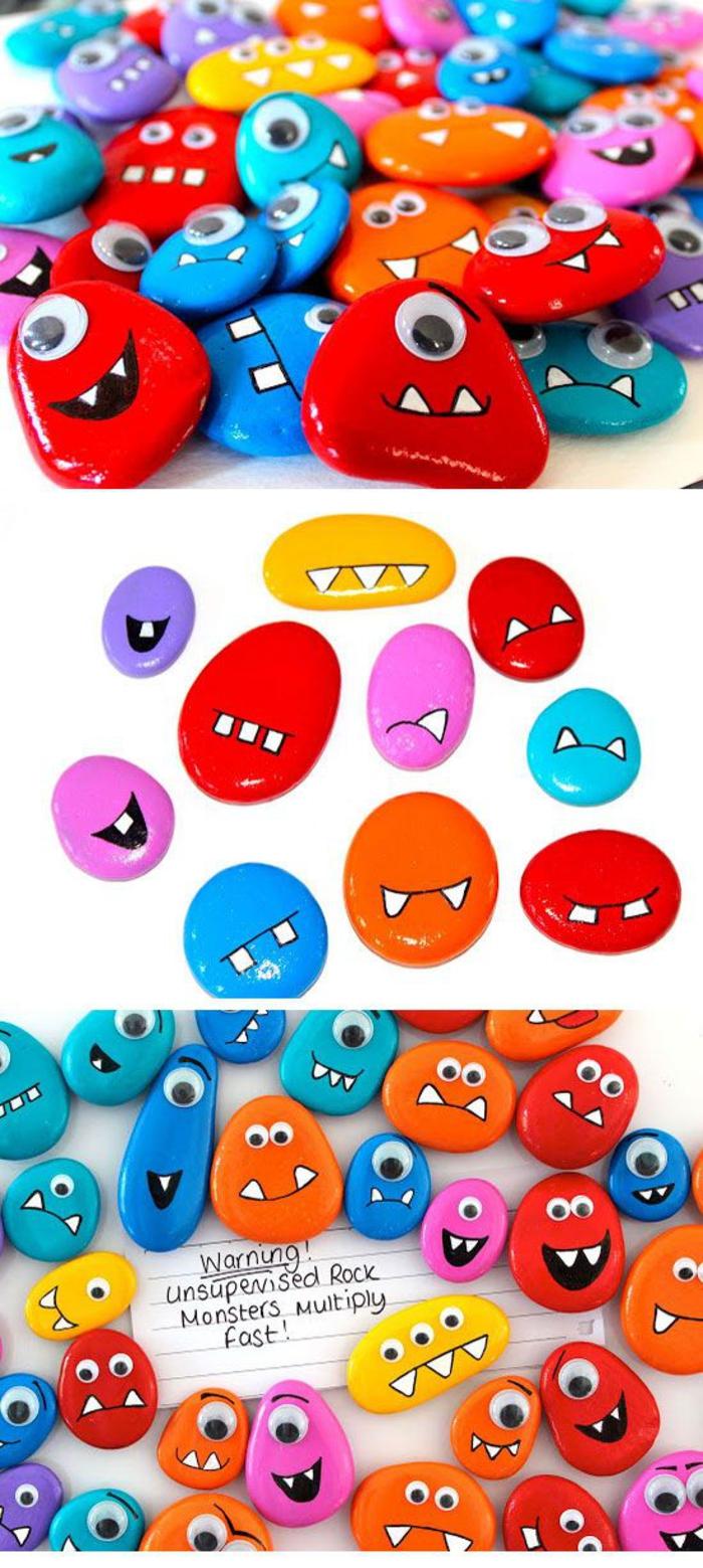 bricolage enfant amusant, de petits monstres rigolos peints sur galets de forme différente