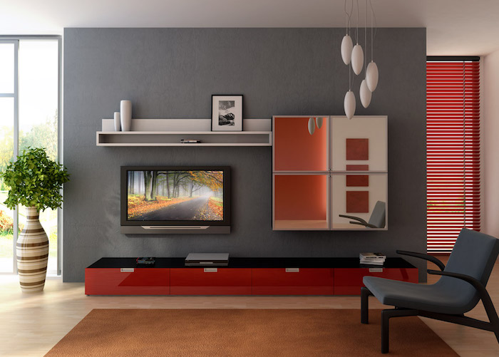 design salon deco simple gris rouge minimaliste moderne