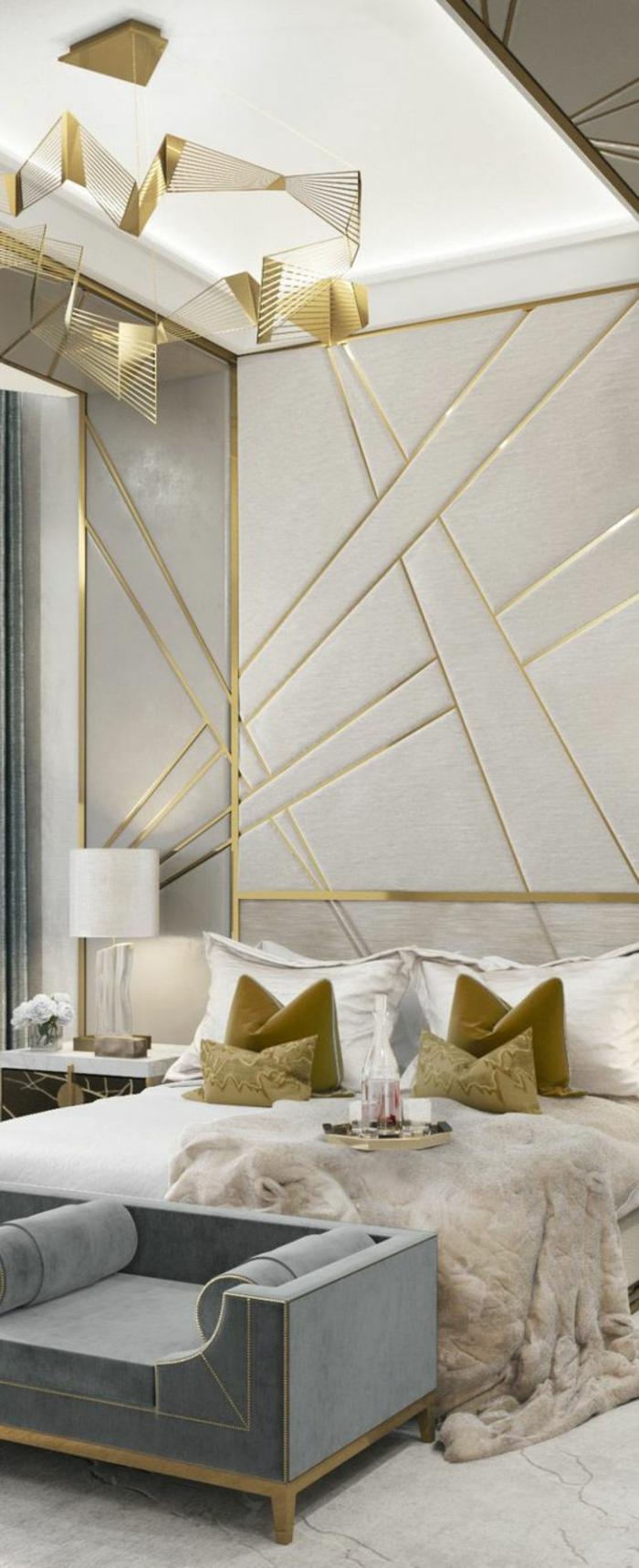 chambre design aux accents dorés et couleur colombe neutralité des couleurs et brillance des détails