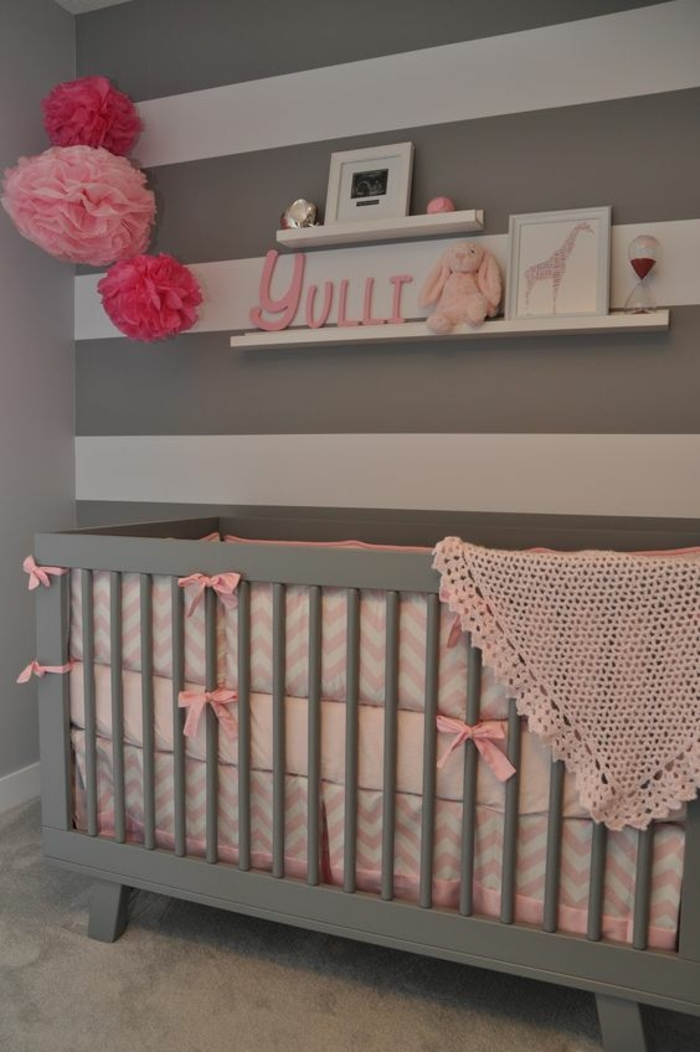 Beautiful chambre grise et rose couffin bb porte cadre for Chambre gris rose