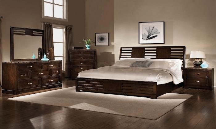 chambre couleur marron acajou brun foncé bois ebene bistre