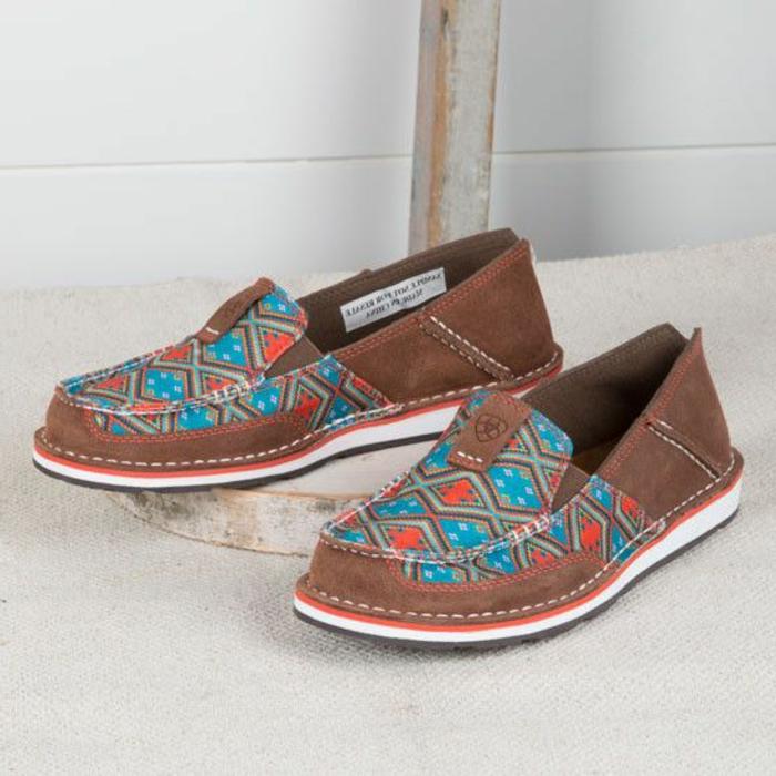 chaussures aux imprimés ethniques, couleur marron et patterns couleur bleue et oragnge, dessin géométrique