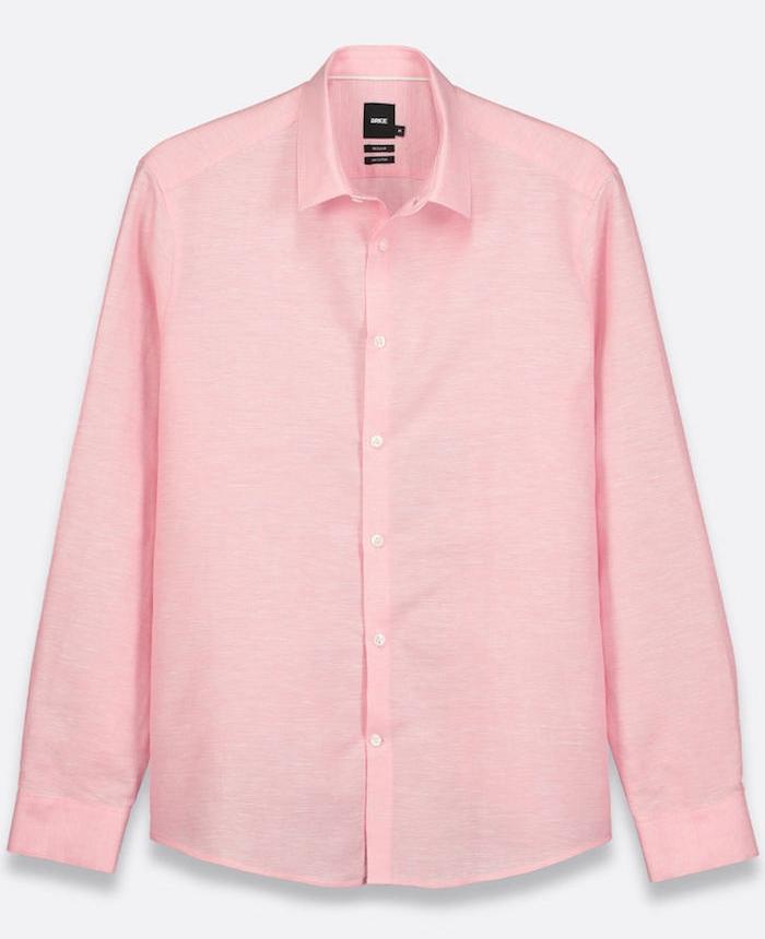 chemise brice manche longue rose en lin coton