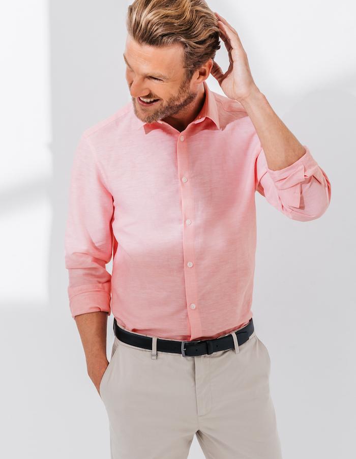 magasin brice chemise manche longue pour homme rose en lin