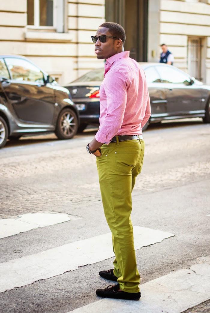chemise homme celio cintrée rose casual en soldes