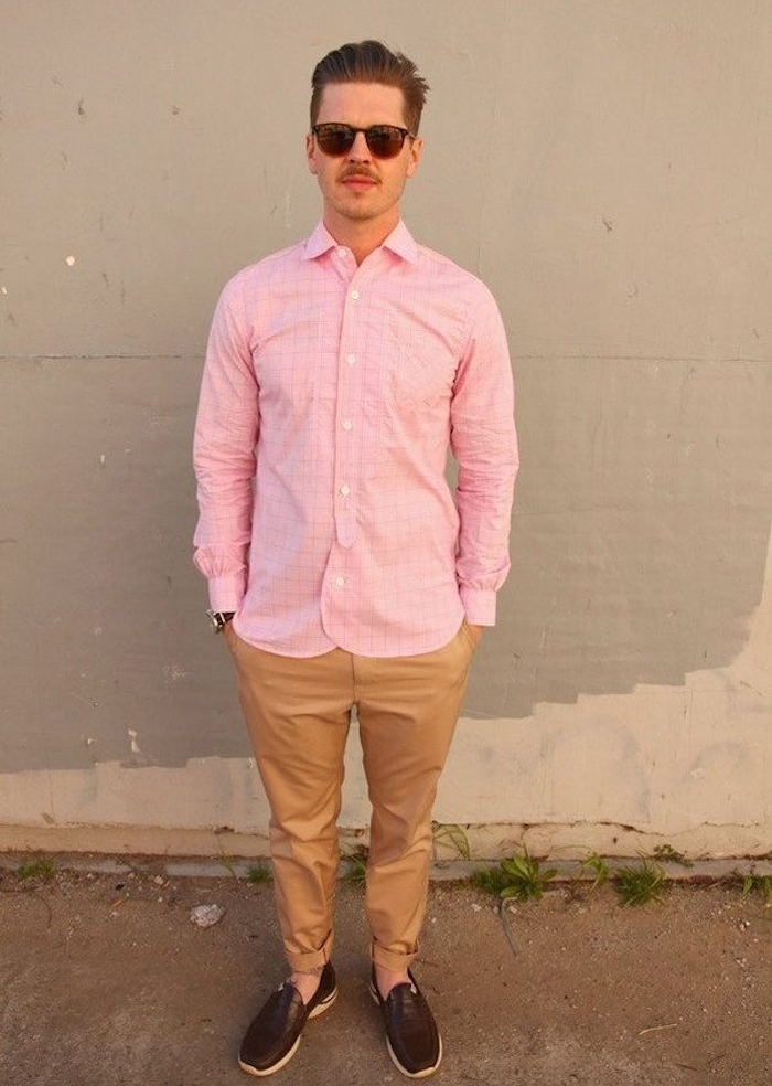 chemise rose homme hipster avec chinon beige manche longue