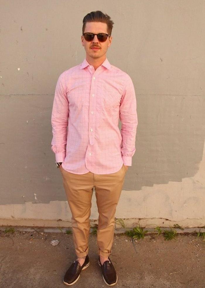 chemise rose homme hipster avec chinon beige manche longue