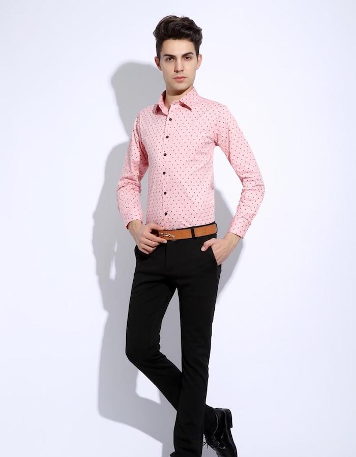 chemise coupe slim fit pour homme rose pale à points