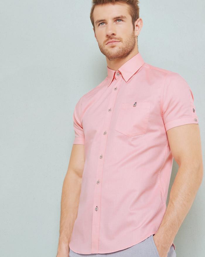 kiabi chemise manche courte rose pour homme pour été en soldes