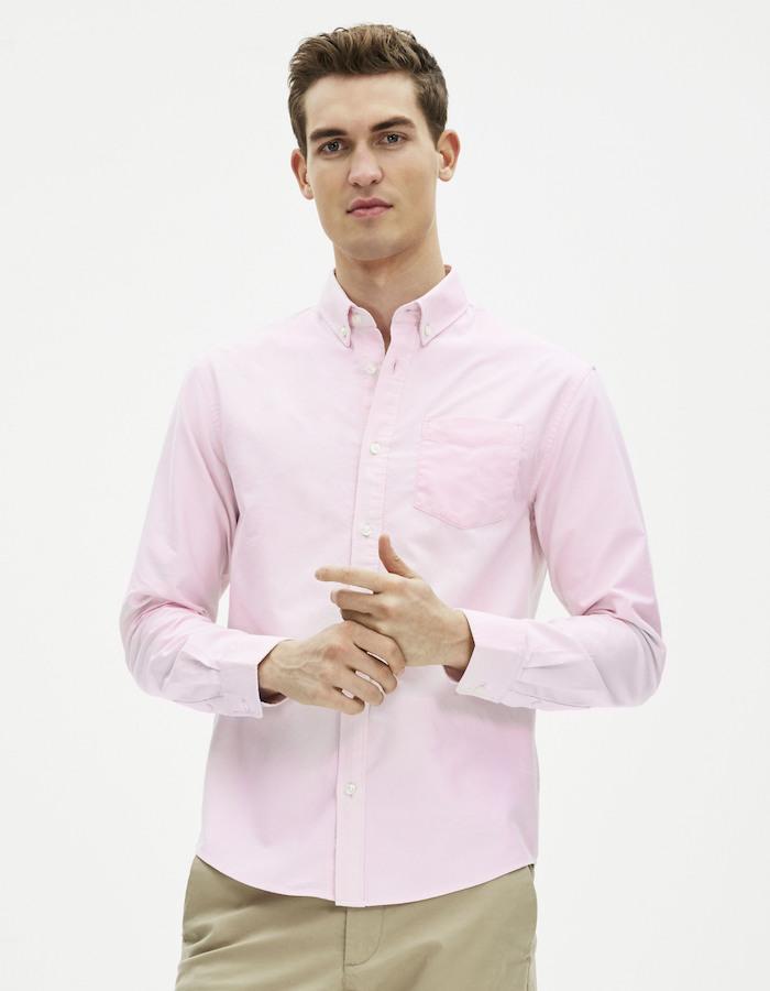 chemise homme classique coupe droite rose uni