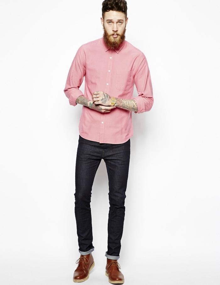 chemise homme de marque rose style hipster oxford sur jean brut