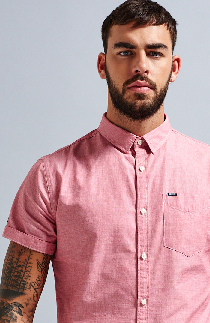 chemisette homme rose manches courtes style coton oxford